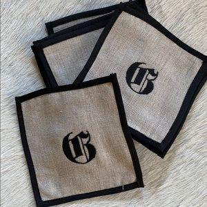 "Mark & Graham Linen Coasters ""G"" monogram / 10"
